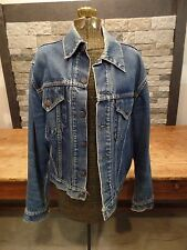 Vintage Levi's Big E Type 3 Denim Jacket Blanket Trucker Distressed 2 Pocket S