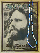 "30""Jim Morrison Style Handmade Bead Necklace Orig. Turquoise White Black - Doors"