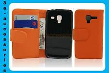 Orange Leather Wallet Pouch Flip Case Cover For Samsung Galaxy Ace 2 GT-I8160