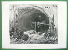 FISHERMAN CAVE Old Boat Nets Fishing by Cooke - Steel Engraving Antique Print
