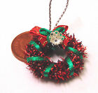 1:12 Decorated Red & Green Christmas Wreath Dolls House Miniature Accessory HWr