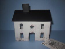 RUSTIC TIN SALTBOX HOUSE~PRIMITIVE COUNTRY DECOR IVORY~ MINIATURE FAIRY GARDEN