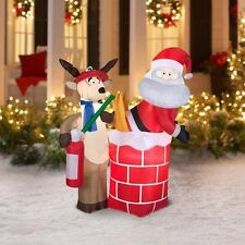 4.5 Ft Airblown Inflatable Santa with Pants on Fire Holiday Christmas Yard Decor