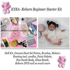 REBORN Starter Beginner Kit, Genesis paints, Mohair, DVD, REBORN DOLL KIT- KYRA
