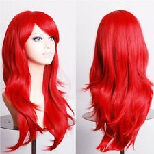 US HOT long hair fall full head wig real thick straight curly wave synthetic wig