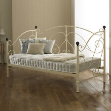 New Milano Metal Day Bed Ivory Sprung Slats Base Cheapest On eBay!!