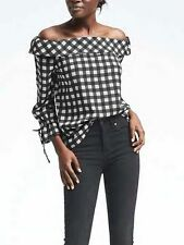 nwt banana republic easy care gingham off shoulder top blouse shirt small S