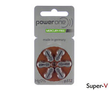 PowerOne MERCURY FREE Hearing Aid Batteries Size 312 (6 Batteries)