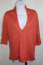 Eileen Fisher Womens Cashmere Blend Sweater Orange 3/4 Slv Orange Shawl Collar M