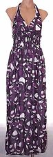 New Wet Seal L, large halter empire waist lined Maxi dress Purple black & White