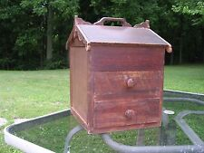 Antique Vintage Folk Art Primitive House Spice Box with 2 Drawers