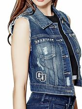 GUESS Vest Jacket Womens Shania Patched & Studded Denim S Dark Wash NWT