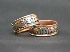Adjustable Tibetan 3-color Copper Filigree Carved OM Mani Padme Hum Amulet Ring