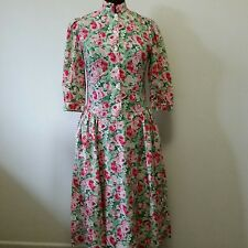 Vintage Laura Ashley Dress Pink Rose Floral Green Long Vtg Size 10 Great Britain