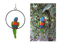 20cm Rainbow Lorikeet Parrot on Metal Swing / Ring - Outdoor Garden patio parot