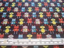 LITTLE ROBOTS LITTLE MONSTERS CHARCOAL GREY MAKOWER UK COTTON QUILT FABRIC