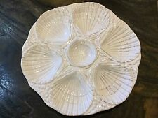 "Large 11"" Rustic White OYSTER PLATE By OLFAIRE Portugal 7 Wells"