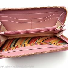 BNIB PAUL SMITH PS SAFFIANO LIGHT PINK 'SWIRL' LEATHER ZIP AROUND PURSE WALLET