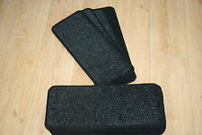 14 Black Glitter Open Plan Carpet Stair Treads Black Sparkle Pads! 14 Large Pads