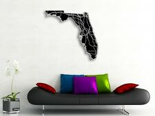 Florida Map Art - 36x33 in- Florida State Art - Engraved State Map Highways