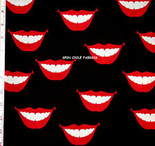 1YD A Henry VALENTINES SMOOCHIE LIPS KISS SMILES Teeth Mouth De Leon Fabric BLK