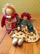 Set of Two Small RUSS BERRIE & Raggedy Ann Cloth ANGEL DOLLS Prim Primitive