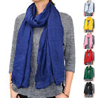 """72"""" Long Solid Color Light Weight Thin Wrinkled Scarf Shawl Wrap Classic Fashion"""