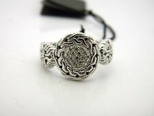 John Hardy Silver Small Circle Contour Ring with Diamond Pave 0.10 CTW S.7 NWT