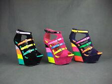 New Ladies High Heel Wedge Stripe Buckle Strap Sandal; Pump - Size 4-8