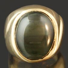 Solid 14K Yellow Gold & 10.70ct Cabochon Tourmaline Green Cat's Eye Ring, NR!