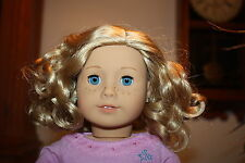 "NEW American Girl Truly Me 18"" DOLL #56 Blonde Curly Hair Bl Eyes PIERCED EARS A"