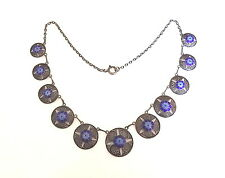 Antique/Vintage Portuguese solid Silver and Blue Enamel filigree necklace