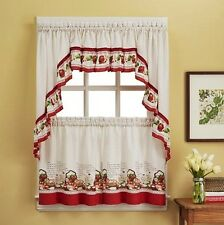 "3 Piece Apple Pie Recipe Curtain Set With Swag & 36""L Tiers"