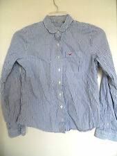 HOLLISTER  Blue White Striped  Button Up Women's Shirt  - Sz M