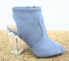 Women's Open Toe Clear Chunky Perspex Heel Booties Sandal Shoes Size 5.5 - 11