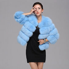 100% Real Genuine Blue Fur Fox Fur Coat Outwear Jacket Women Coat C0011 Sz S