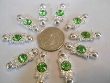 15 SILVER PLATED GREEN GLASS STONE 2 HOLE SLIDER SPACER BEAD BAR