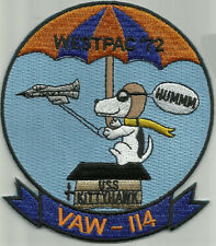 NAVY VAW-114 AVIATION CARRIER EARLY WARNING SQUADRON MILITARY PATCH SNOOPY