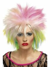 New Womens Multicoloured Punk Wig 80's Rockstar Pop Wild Chick Child
