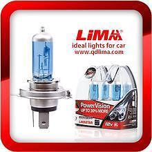 2 X H4 LAMPADE H4 55W EFFETTO XENON 6000K SUPER WHITE LIMA STAR FIAT PANDA 169