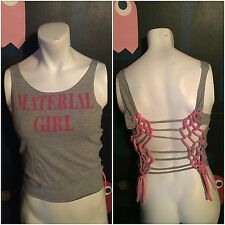 DIY Cut Up VTG Madonna Material Girl Pink Gray T Shirt S M Tour Concert Boy Toy