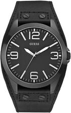 Guess Mens Casual Black Dial Leather Band Analog Quartz Watch W0181G2