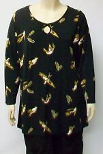 YOEK,THEIR SIZE SMALL,JERSEY TUNIC,BLACK WITH BIRDS IN FLIGHT,TAN AND BEIGE