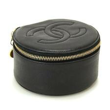 Auth CHANEL Cavier Skin Jewelry case Leather Black Vintage Purse 90018370