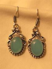 Lovely Festooned Top Metal Beaded Caribean Blue Mexican Silver? PIERCED Earrings