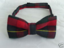 (15)TARTAN-Red/Green/Black Squares Bow Tie  Matching Necktie & Hanky R Available