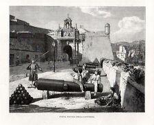 Stampa antica GENOVA Porta Vecchia con bambini e cannoni 1880 Old print