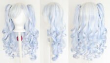 20'' Lolita Wig + 2 Pig Tails White and Saxe Blue Blend Mix Gothic Sweet NEW