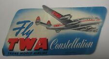 Vintage Fly TWA Constellation Luggage Sticker Litho Trans World Airline Paper