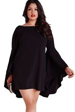 Plus Size Clothing 4X Black Bell Sleeve Swing Mini Dress SEXY Party Clubwear